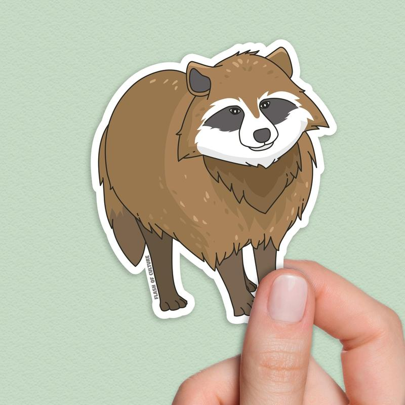 Tanuki sticker, Japanese stickers-Stickers-Flash of Culture™