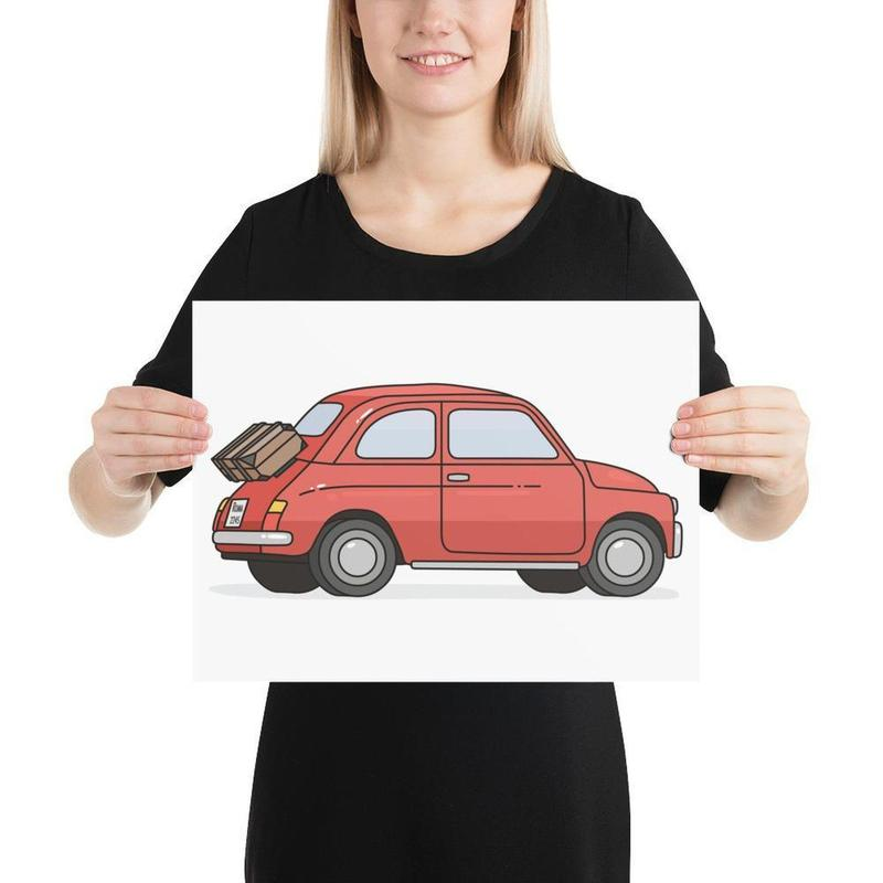 Vintage FIAT 500 Poster Art-Posters-Flash of Culture™
