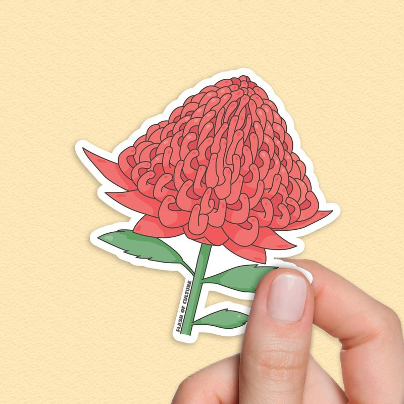 Waratah sticker, Australian flowers stickers-Stickers-Flash of Culture™