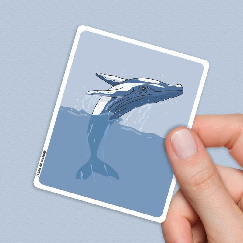 Whale Sticker, Sea-life stickers-Stickers-Flash of Culture™