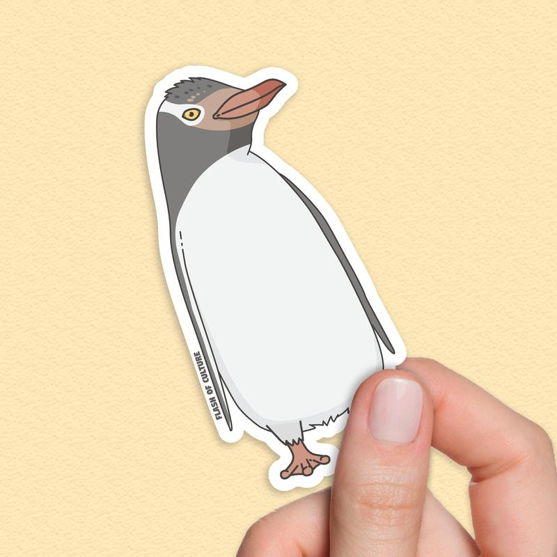 Yellow-eyed Penguin sticker, New Zealand Stickers-Stickers-Flash of Culture™