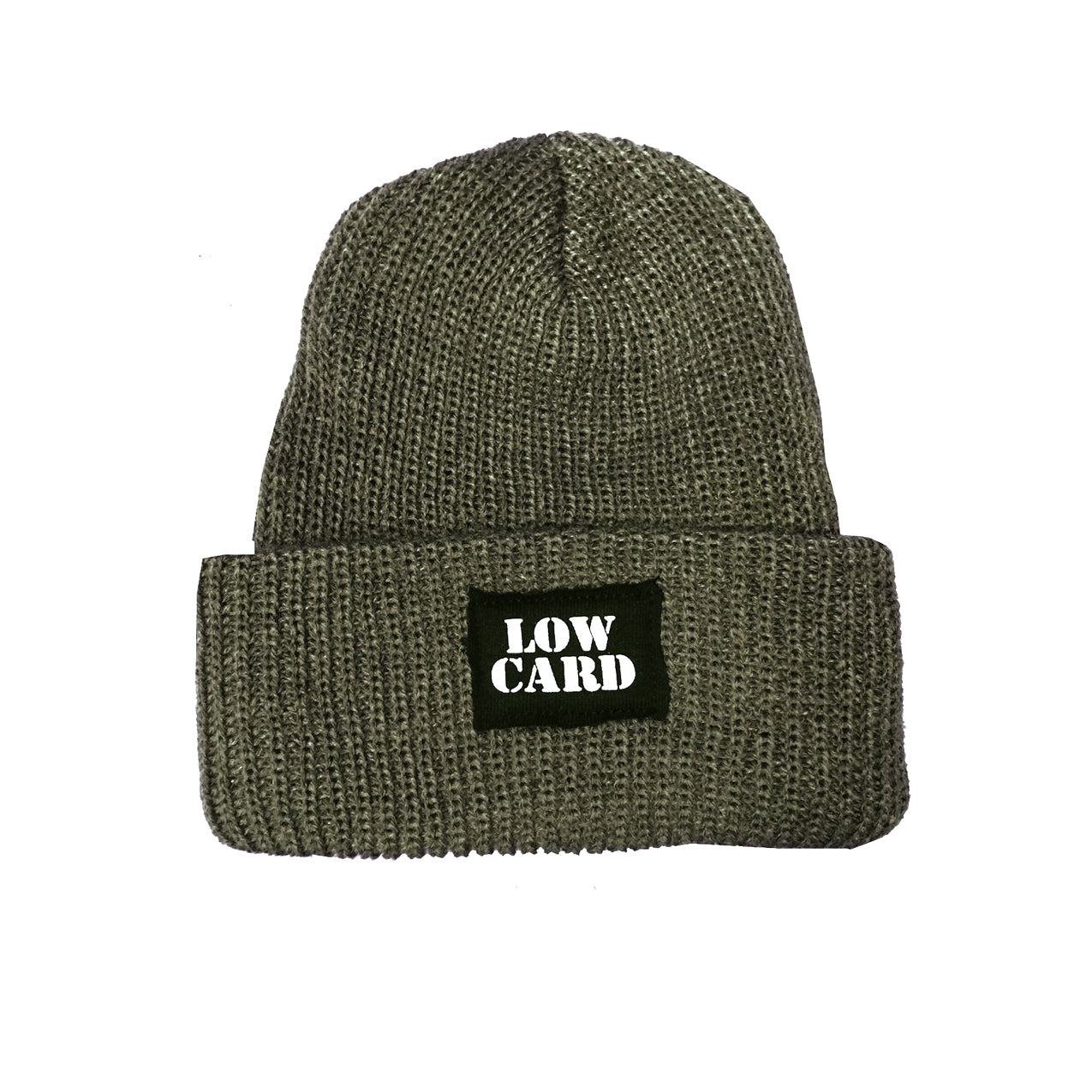 Low Card - Knit Beanie - Olive/Grey
