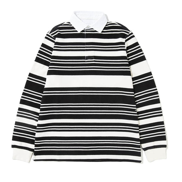 Pop Trading Company - Pop Striped Rugby - Black/White