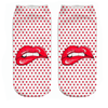 Red Polka Dot Lips Ankle Socks - Dollar Socks Club