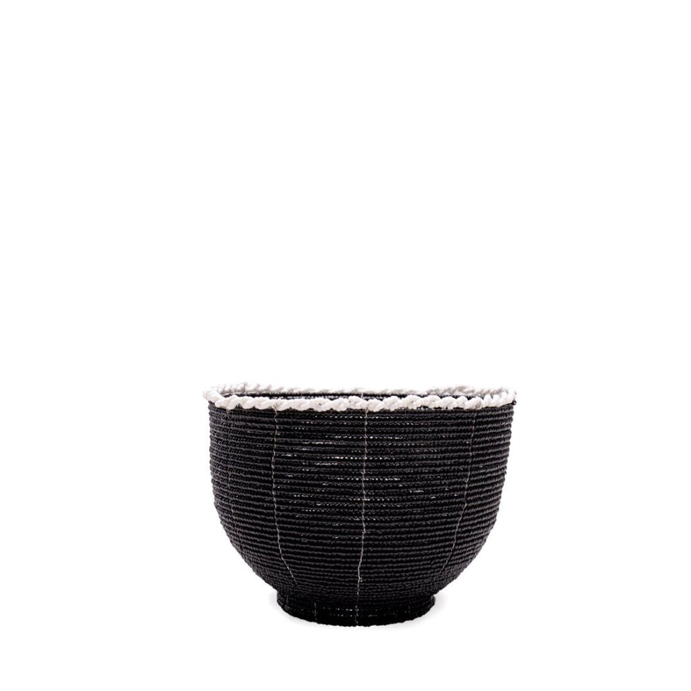 BEADED CANDY BOWL / BLACK – WHITE TRIM