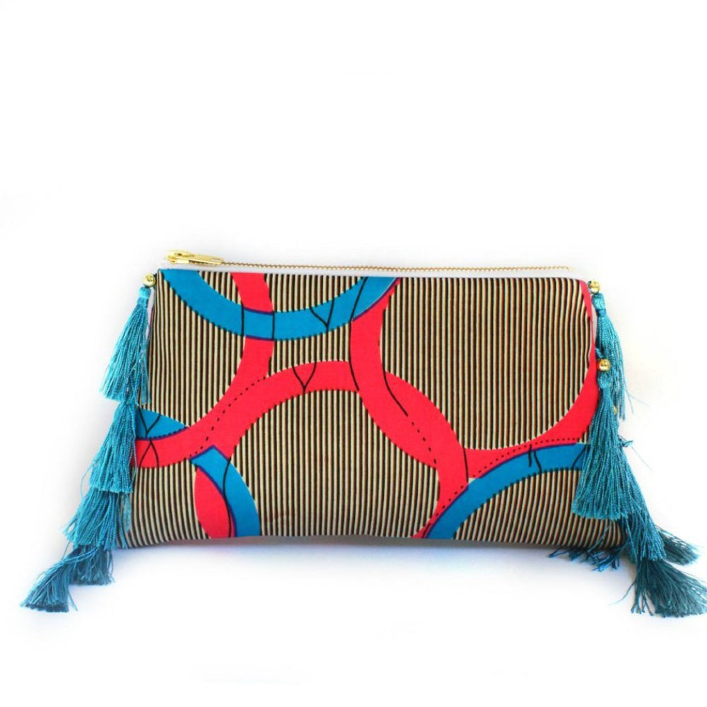 AM Turquoise Tasseled Clutch