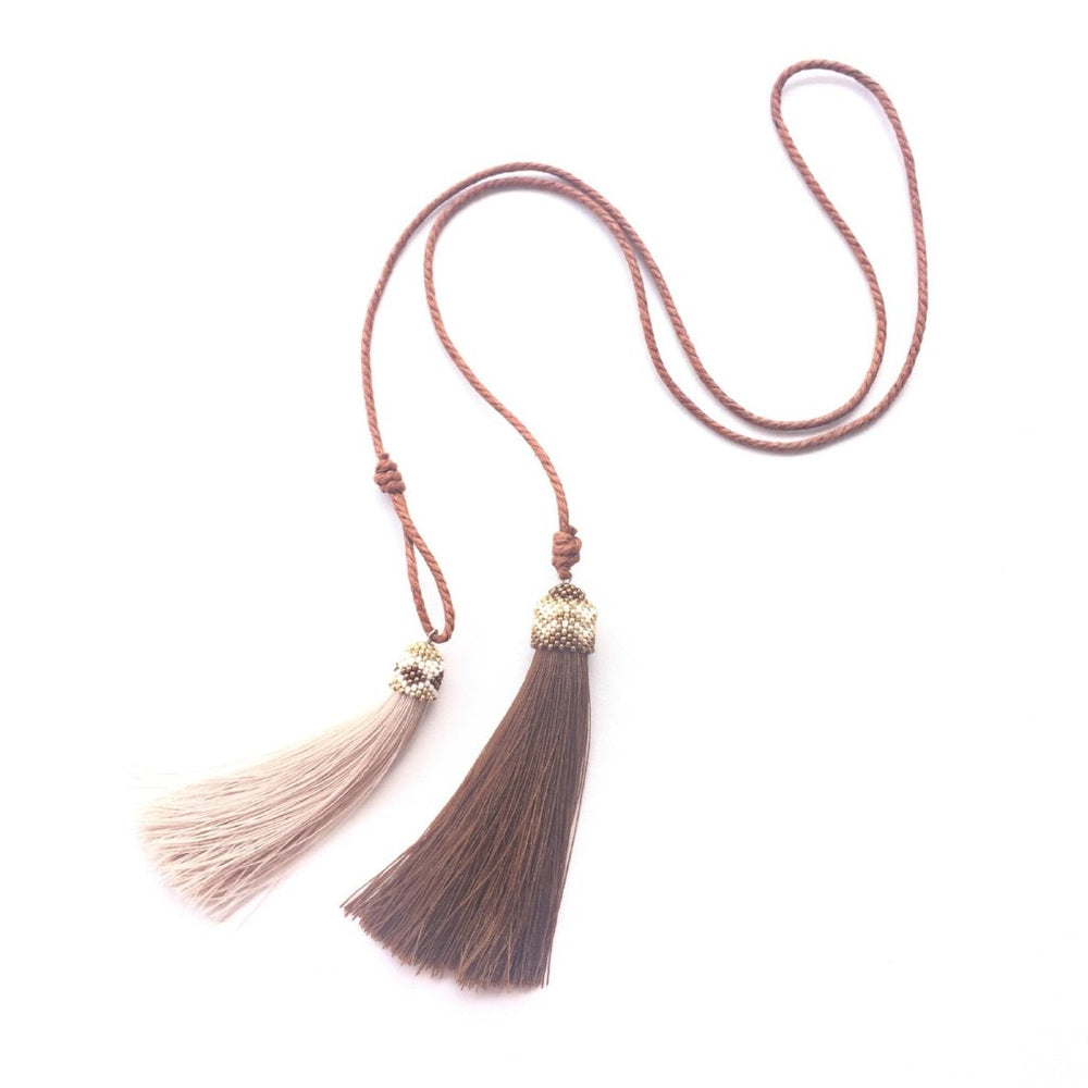 Necklace - Double Tassel in Brown