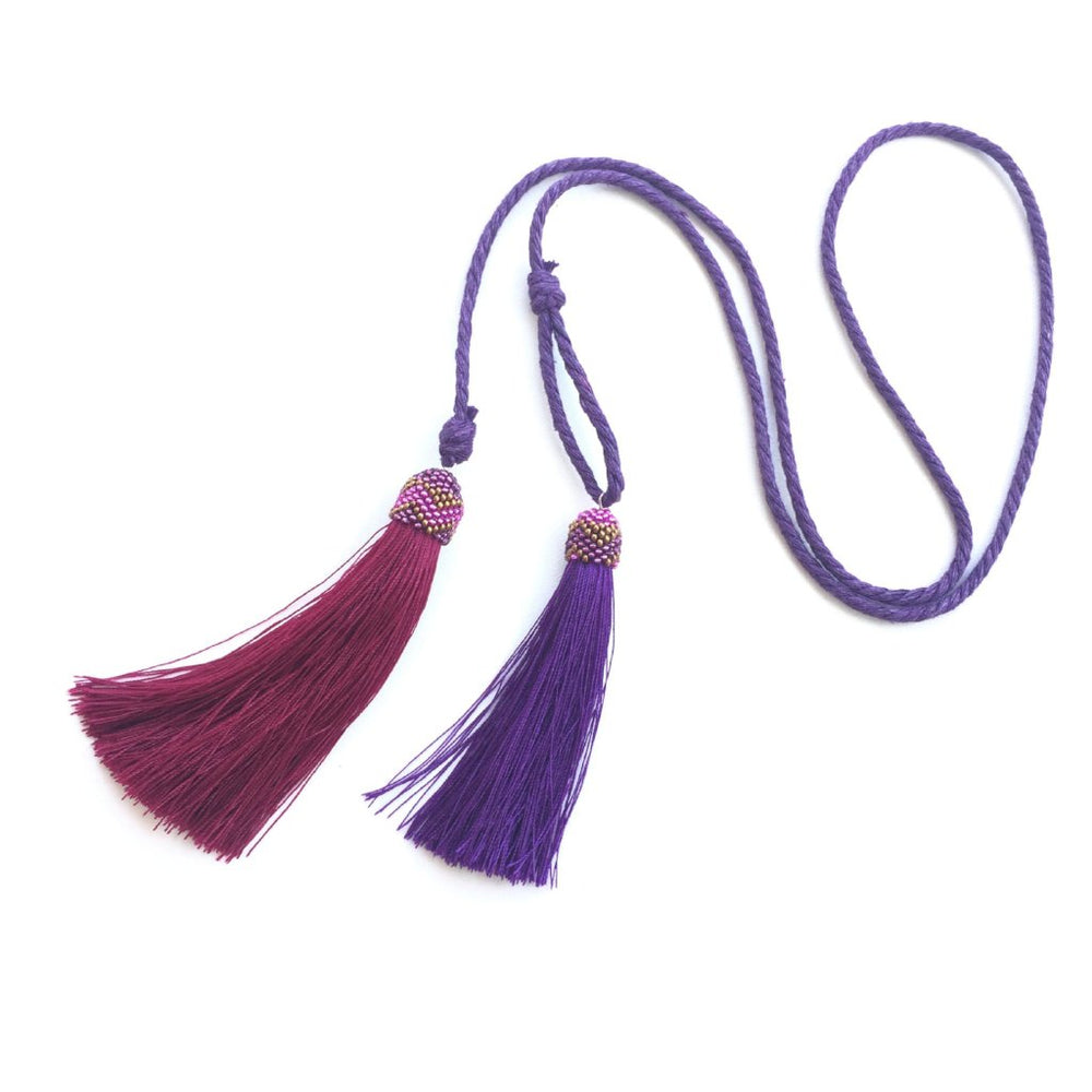 Necklace - Double Tassel in Purple