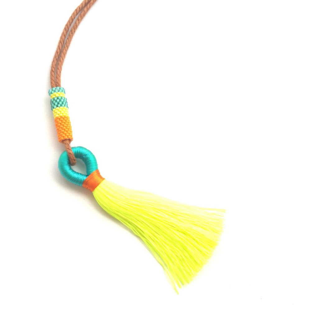 Necklace - Single Tassel Neon Lime