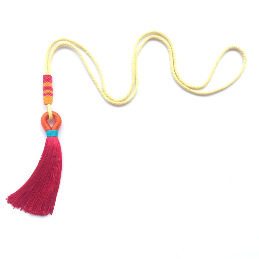 Necklace - Single Tassel Red