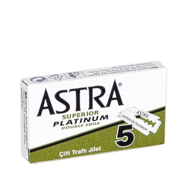 Astra Platinum Lux  Navajas Doble Filo Paquete de 5pz - The Shaving Mayoreo