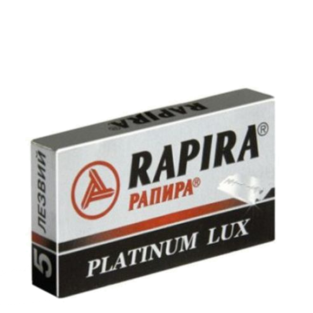Rapira Platinum Lux  Navajas Doble Filo Paquete de 5pz - The Shaving Mayoreo