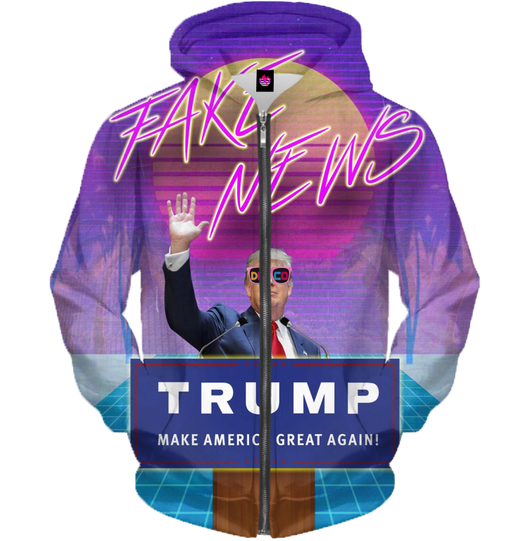 TrumpWave Is Against The Fake News All Over Zip-Up