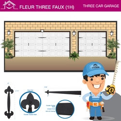 Fleur Three Car Faux (1H), Three Car Garage