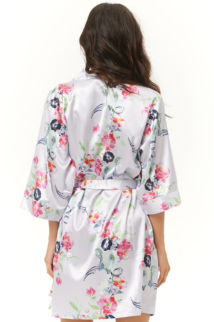 Floral Light Purple Satin Kimono Robe