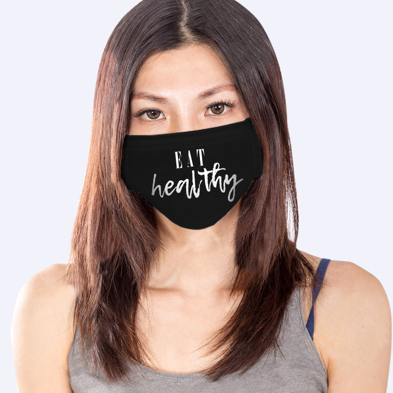 Eat Healthy - Custom Black Reusable Mask (1pc)