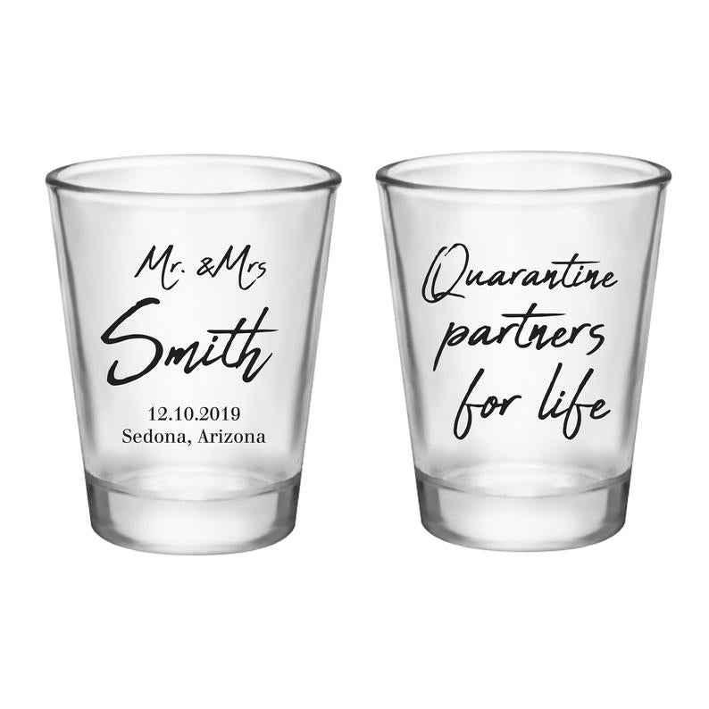 Quarantine Partners for Life Wedding Shot Glasses (4)