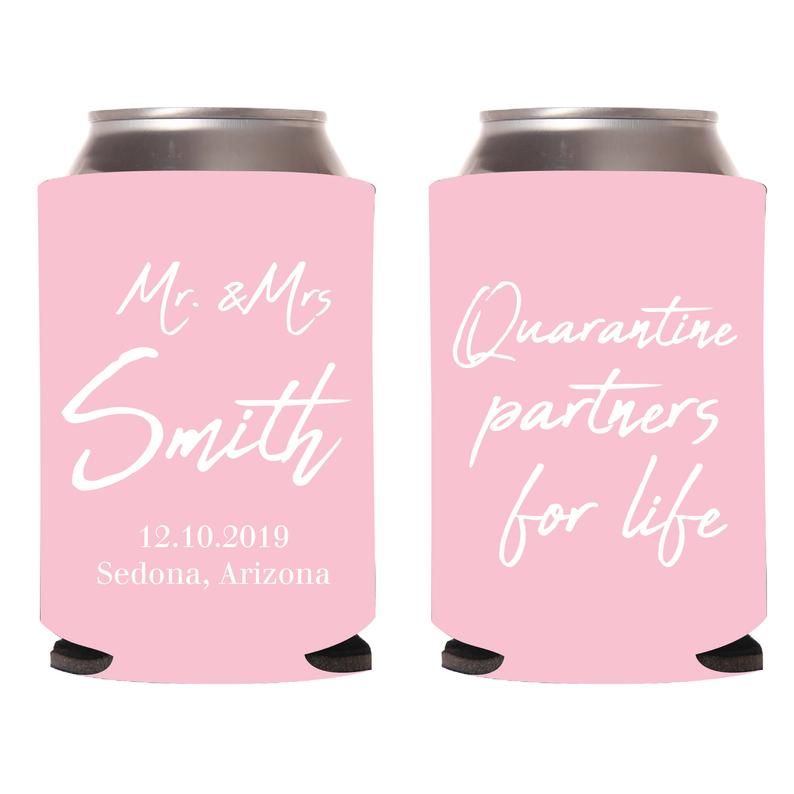 Quarantine Partners for Life Wedding Can Cooler