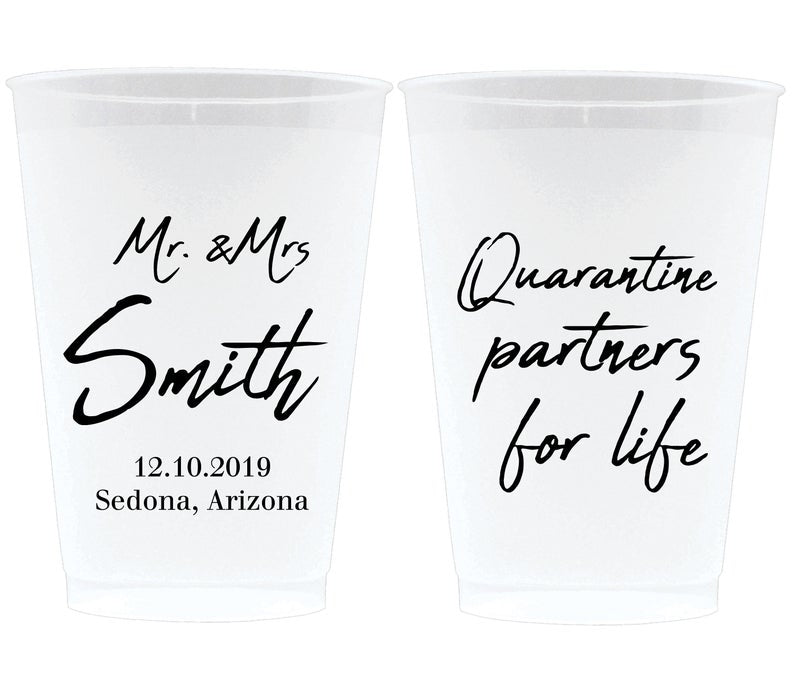 Quarantine Partners for Life Wedding Frosted Cups (4)