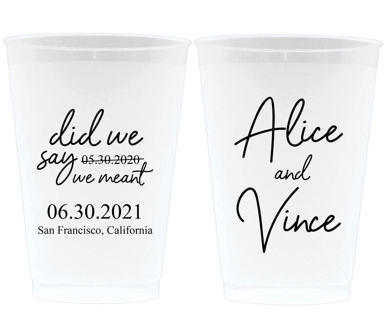 Date Change Announcement Wedding Frosted Cups (7)