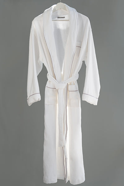 Plush Bath Robe White with Light Pink Piping