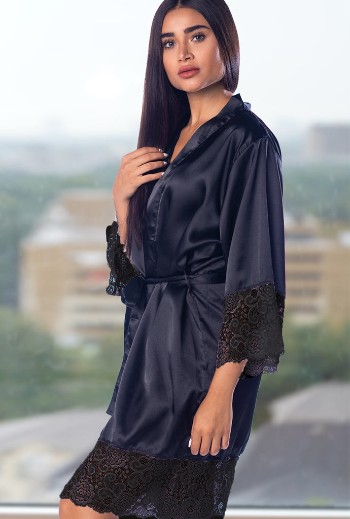 Black Lace Bridal Robe With Black Lace