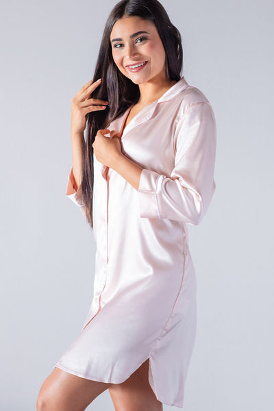Blush w/ White Trim - Night Shirt