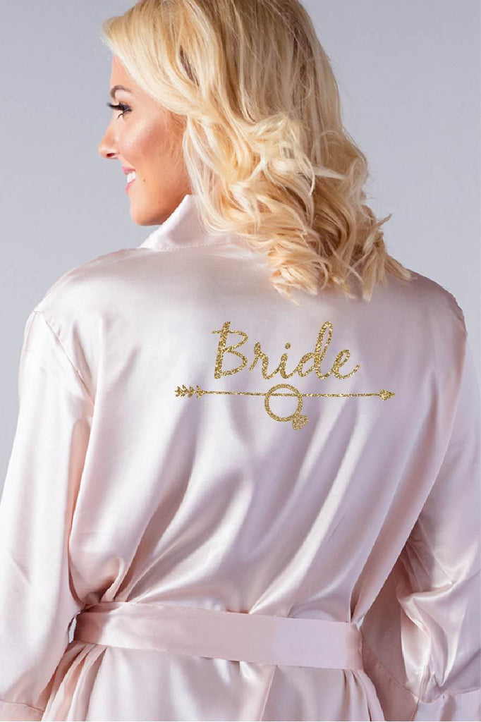 arrow style bridal robe back view