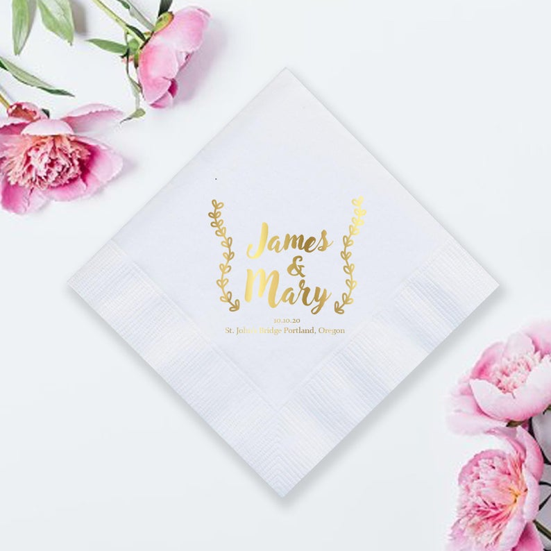 Custom Foil Pressed Wedding Napkin (LPN6)