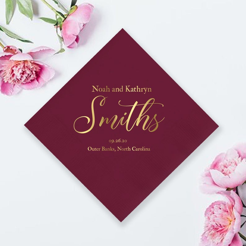 Customized Foil Wedding Napkins (LPN9)