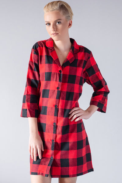 Flannel Red and Black - Night Shirt