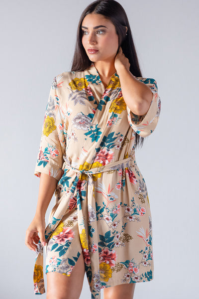 Floral Beige Cotton Robe