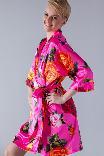 limited quantity new lower prices store Floral Hot Pink Satin Kimono Robe