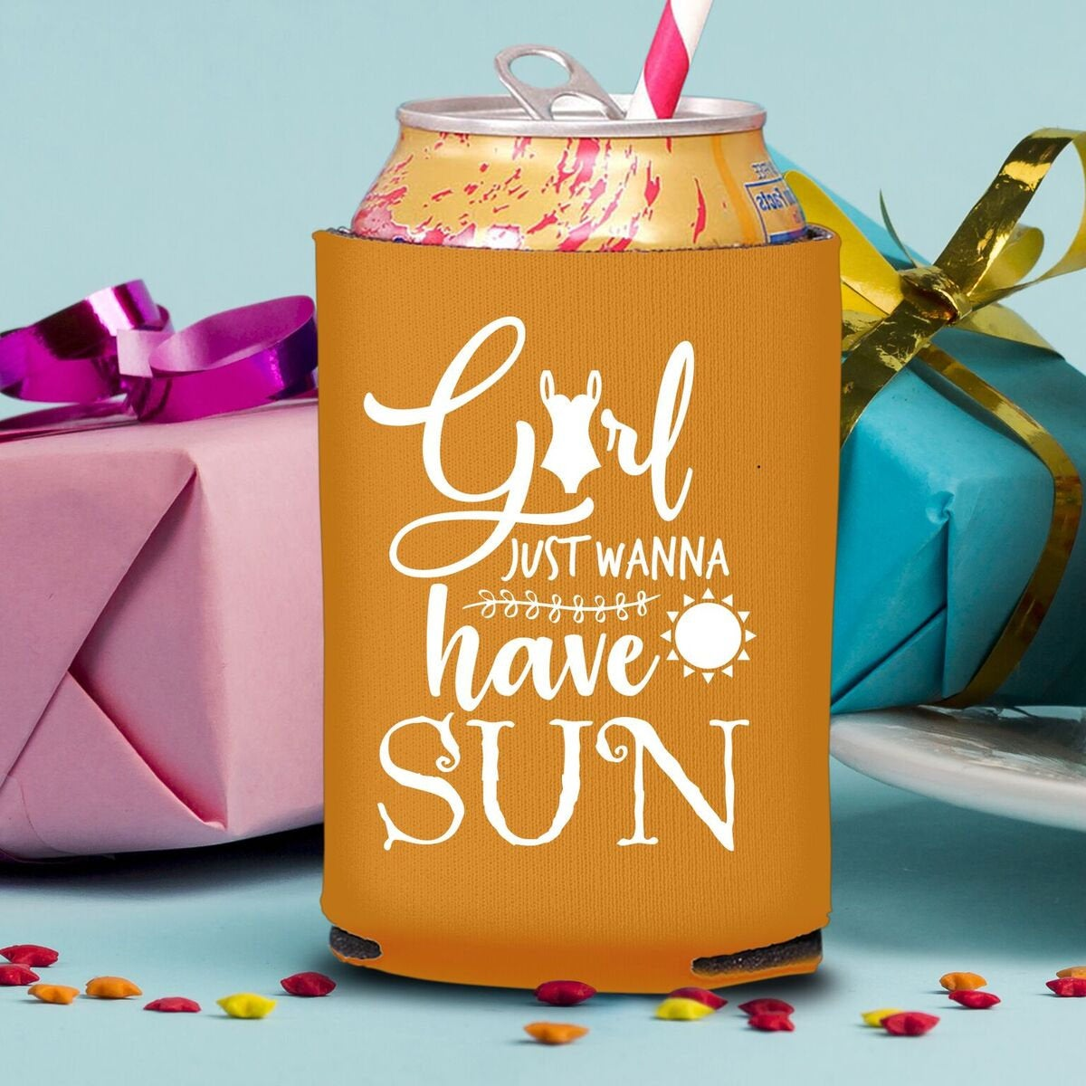 Girl Just Wanna Have Sun Koozie