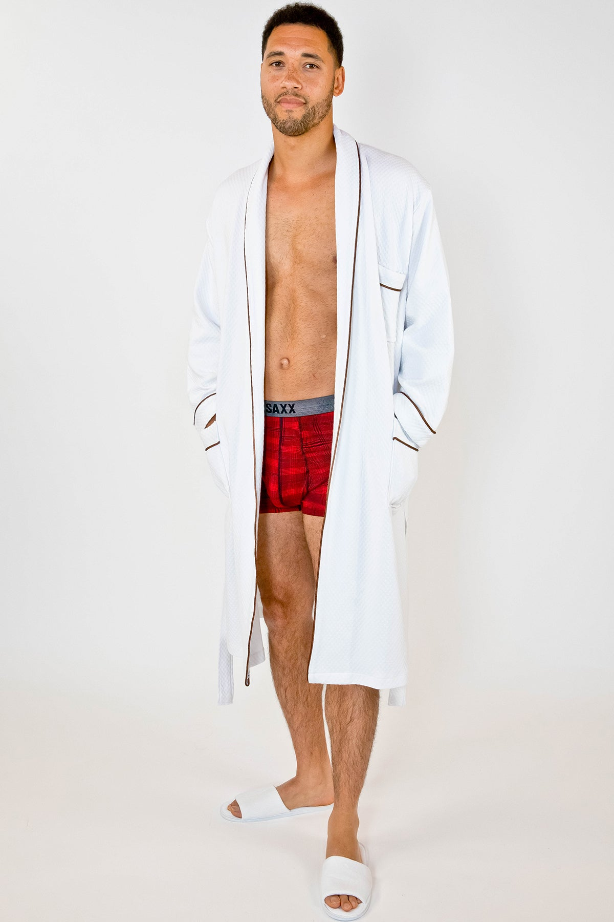 Grid Style Bath Robe White with Brown Piping