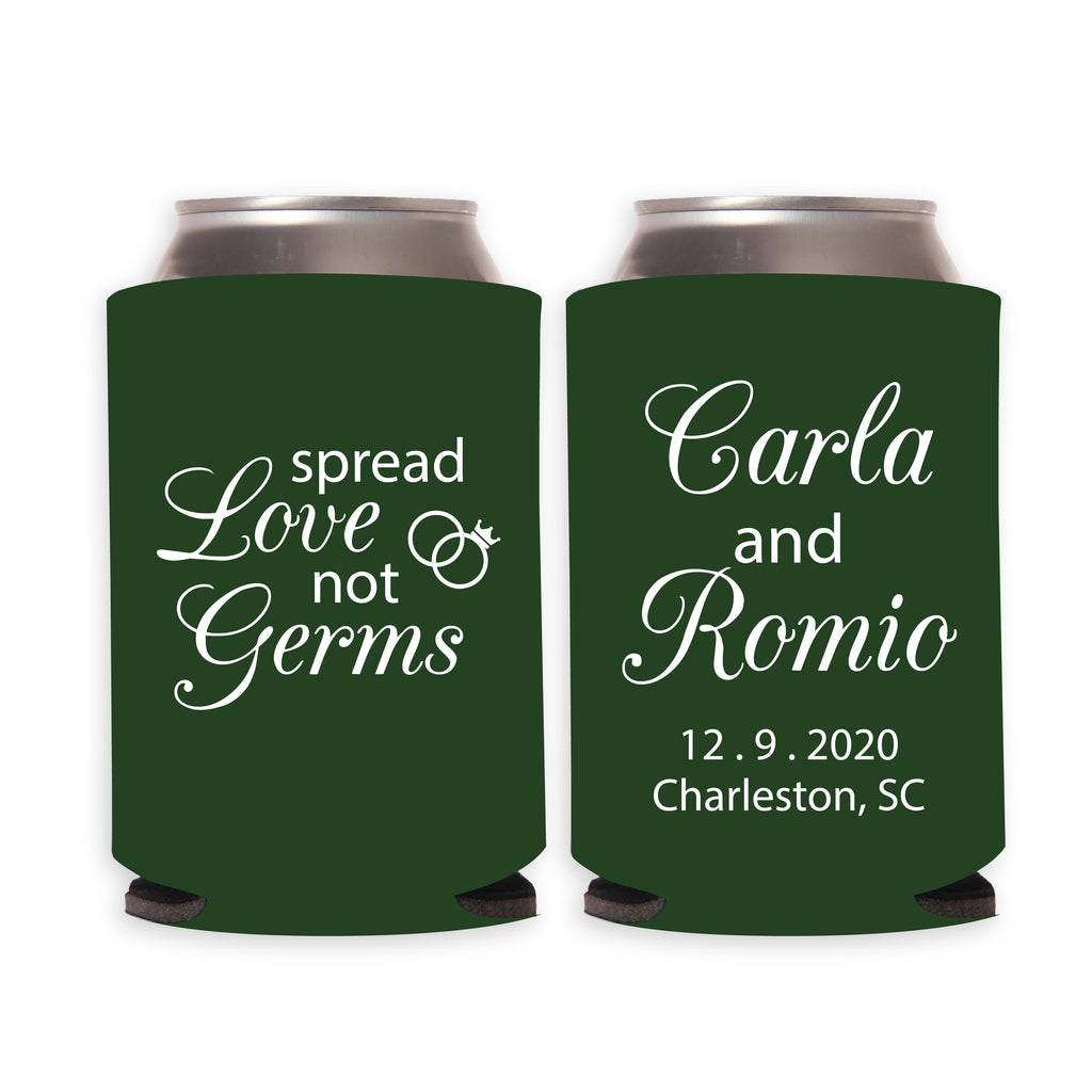 Spread Love Not Germs Wedding Can Coolers