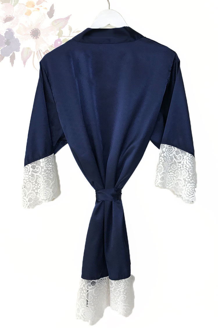 Navy Lace Bridal Robe