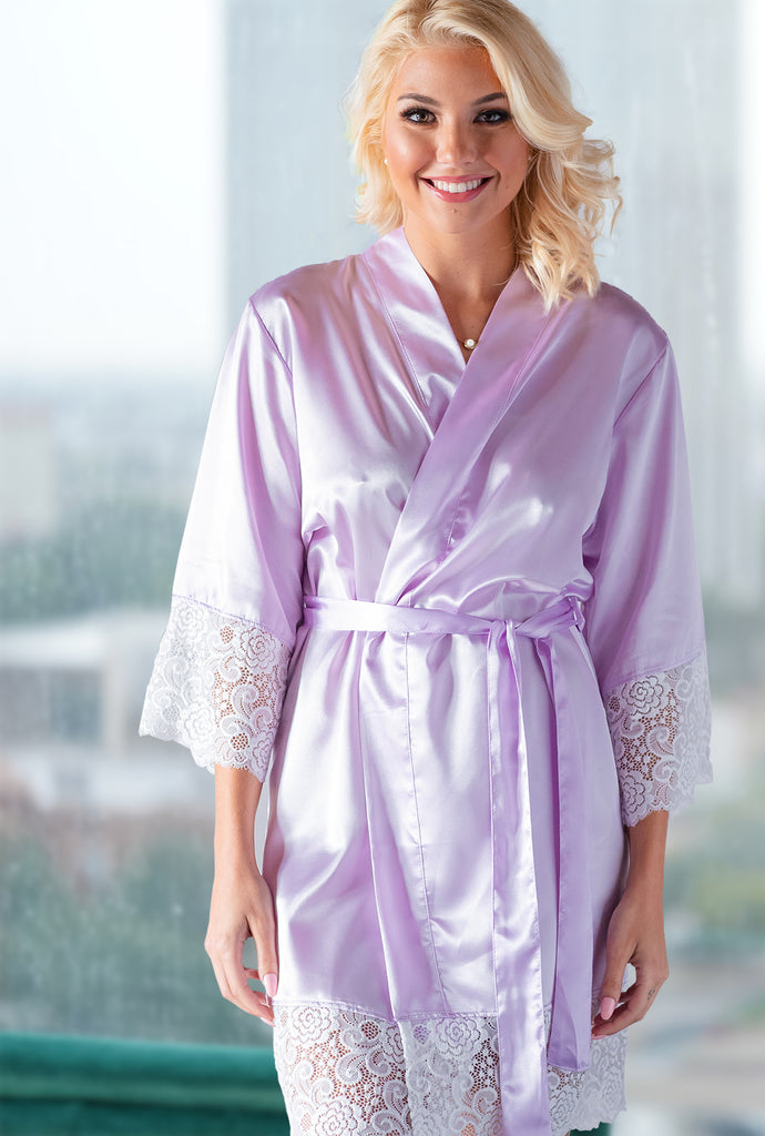 Lavender Lace Bridal Robe