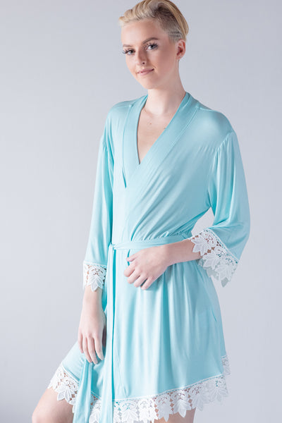 Light Blue Jersey Lace Robe