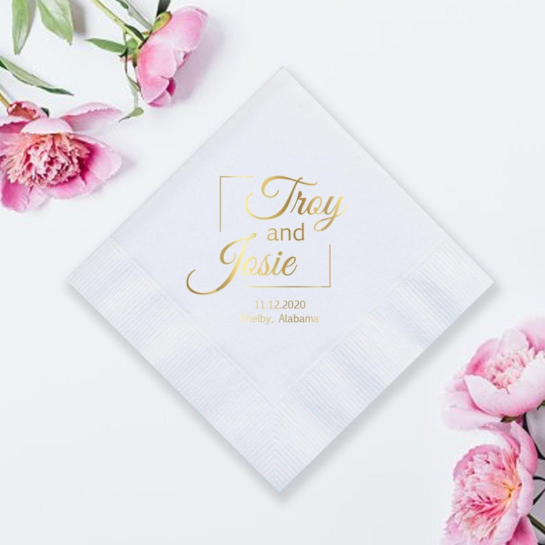 Metallic Printed Wedding Napkins (LPN3)