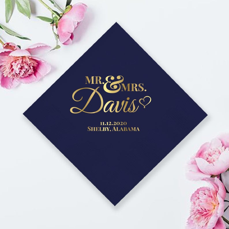 Mr. And Mrs. Custom Wedding Napkin (LPN1)