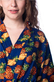 Pineapple Navy Blue Cotton Robe