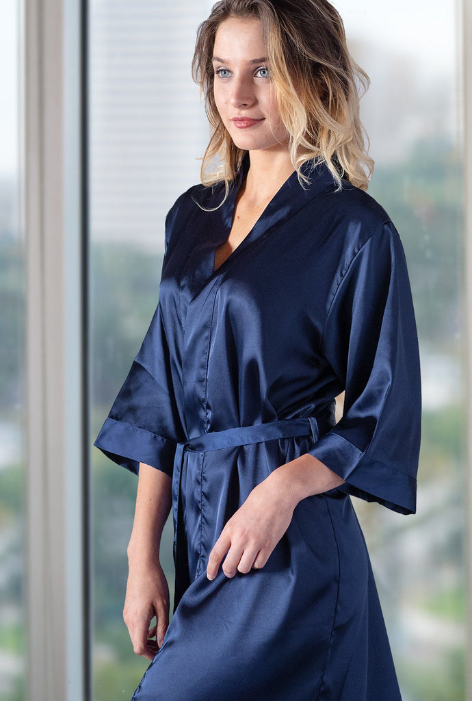 Navy Blue Satin Kimono Robe Robes Pretty Robes Adult S/M