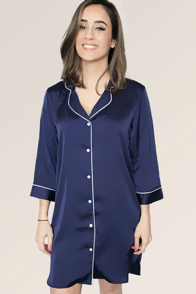 Navy w/ White Trim - Night Shirt