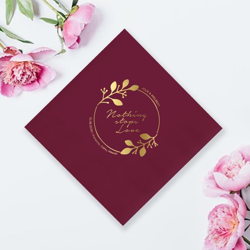 Nothing Stops Love Wedding Napkin (LPN5)