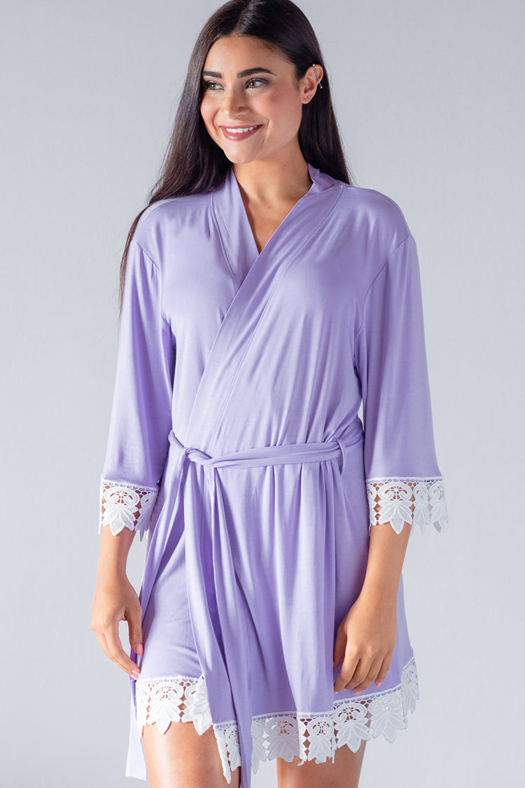 Periwinkle Jersey Lace Robe