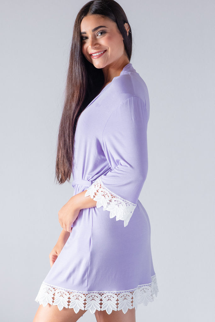 Periwinkle Modal Lace Robe