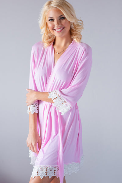 Light Pink Jersey Lace Robe