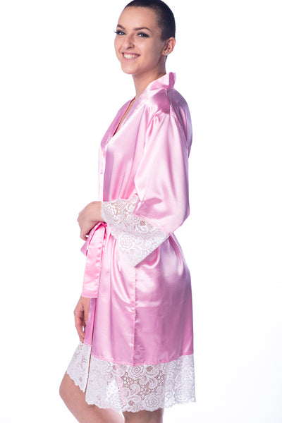Pink Lace Bridal Robe