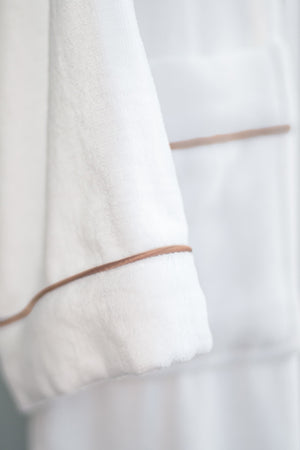 Plush Bath Robe White with Copper Piping